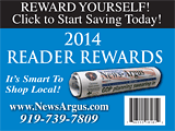 The News-Argus Reader Rewards card for 2014
